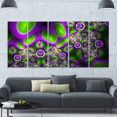 Green Purple Exotic Pattern Abstract Wall Art Canvas - 5 Panels