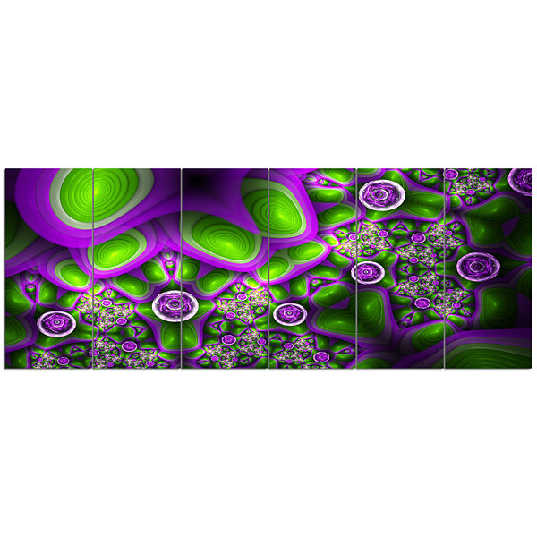 Green Purple Exotic Pattern Abstract Wall Art Canvas - 6 Panels