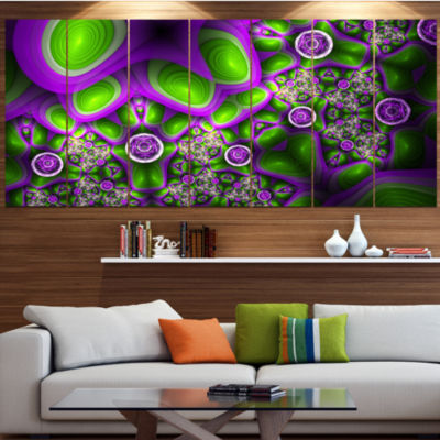 Green Purple Exotic Pattern Abstract Wall Art Canvas - 7 Panels