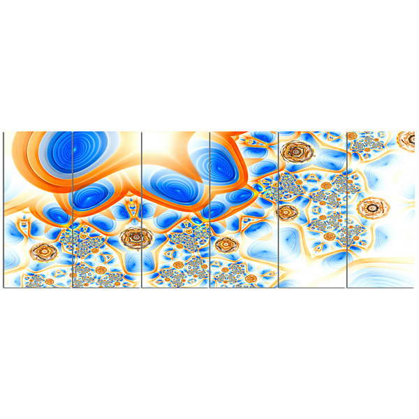 Yellow Blue Exotic Pattern Abstract Wall Art Canvas - 6 Panels
