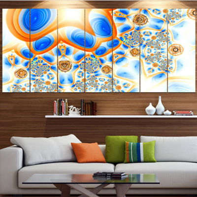 Yellow Blue Exotic Pattern Abstract Wall Art Canvas - 7 Panels