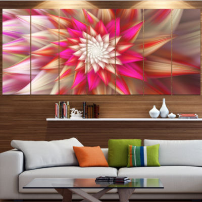 Pink Exotic Fractal Flower Abstract Canvas Art Print - 4 Panels