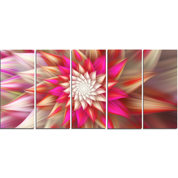 Pink Exotic Fractal Flower Abstract Canvas Art Print - 5 Panels