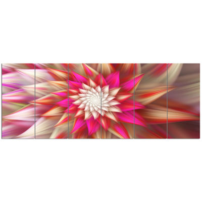 Pink Exotic Fractal Flower Abstract Canvas Art Print - 6 Panels