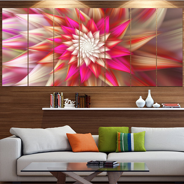 Pink Exotic Fractal Flower Abstract Canvas Art Print - 7 Panels