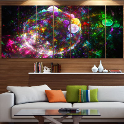 Multi Color Fractal Spherical Bubbles Abstract Canvas Art Print - 5 Panels