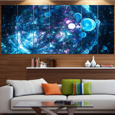 Designart Blue Spherical Planet Bubbles AbstractCanvas ArtPrint - 6 Panels