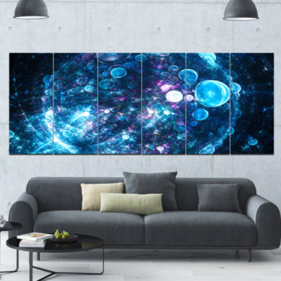 Blue Spherical Planet Bubbles Abstract Canvas ArtPrint - 6 Panels
