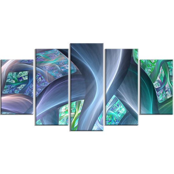 Designart Blue Fractal Exotic Plant Stems Contemporary Canvas Art Print - 5 Panels