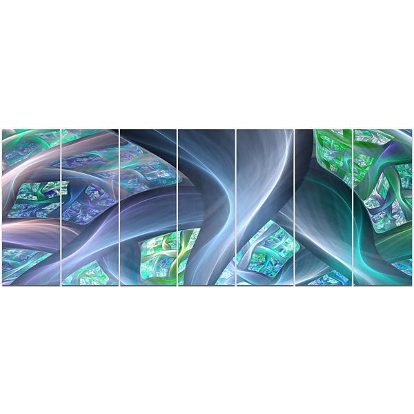 Design Art Blue Fractal Exotic Plant Stems Abstract Canvas Art Print - 7 Panels