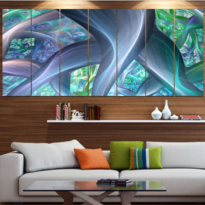 Designart Blue Fractal Exotic Plant Stems AbstractCanvas Art Print - 7 Panels