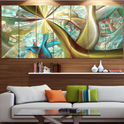 Golden Fractal Exotic Plant Stems Abstract CanvasArt Print - 4 Panels