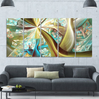 Golden Fractal Exotic Plant Stems Abstract CanvasArt Print - 5 Panels