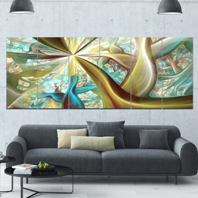 Golden Fractal Exotic Plant Stems Abstract CanvasArt Print - 6 Panels
