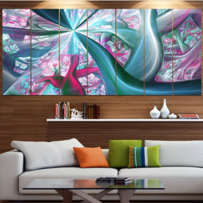 Designart Blue Pink Fractal Plant Stems AbstractCanvas ArtPrint - 4 Panels