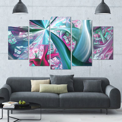 Designart Blue Pink Fractal Plant Stems Contemporary CanvasArt Print - 5 Panels