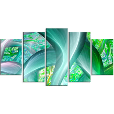Green Fractal Exotic Plant Stems Contemporary Canvas Art Print - 5 Panels