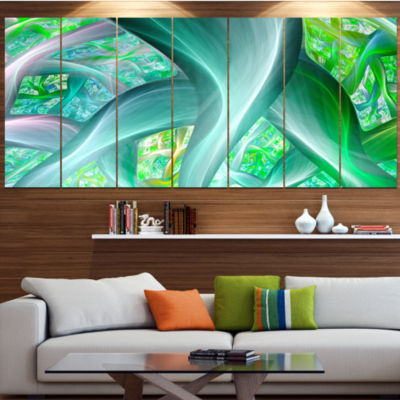 Green Fractal Exotic Plant Stems Abstract Canvas Art Print - 5 Panels