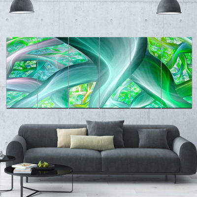 Green Fractal Exotic Plant Stems Abstract Wall ArtCanvas - 6 Panels