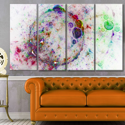 Designart Colorful Spherical Planet Bubbles Abstract CanvasArt Print - 4 Panels