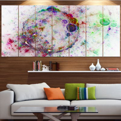 Designart Colorful Spherical Planet Bubbles Abstract CanvasArt Print - 5 Panels