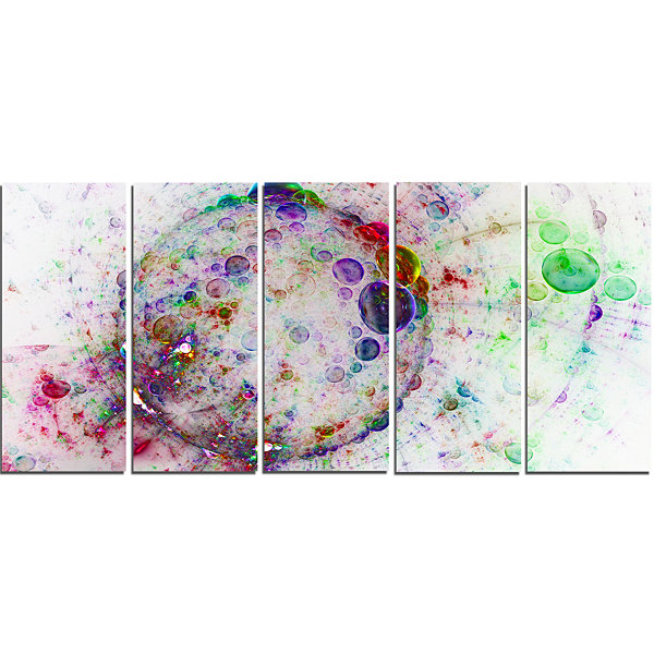 Design Art Colorful Spherical Planet Bubbles Abstract CanvasArt Print - 5 Panels
