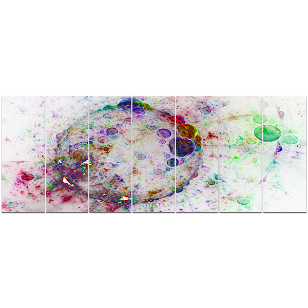 Design Art Colorful Spherical Planet Bubbles Abstract CanvasArt Print - 7 Panels