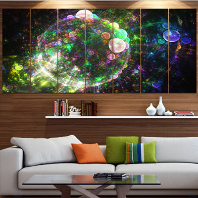 Multi Color Spherical Planet Bubbles Abstract Canvas Art Print - 5 Panels