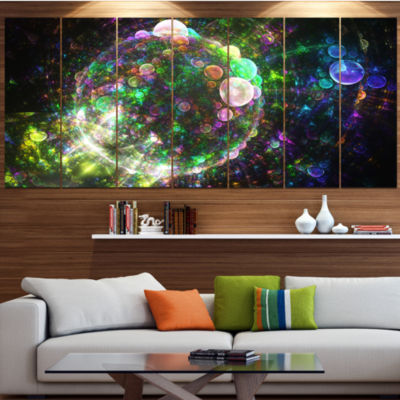 Multi Color Spherical Planet Bubbles Abstract Canvas Art Print - 7 Panels