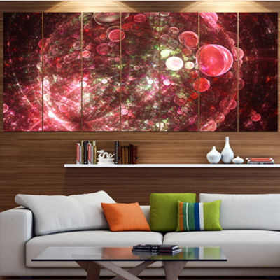Red Spherical Planet Bubbles Abstract Canvas Art Print - 4 Panels
