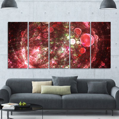 Red Spherical Planet Bubbles Abstract Canvas Art Print - 5 Panels