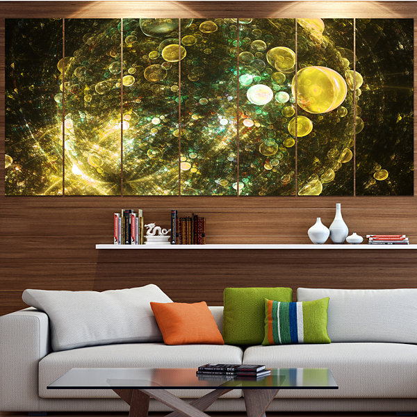 Yellow Spherical Planet Bubbles Abstract Canvas Art Print - 4 Panels