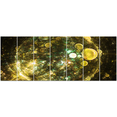 Yellow Spherical Planet Bubbles Abstract Canvas Art Print - 7 Panels