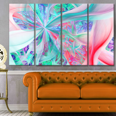 Multi Color Fractal Exotic Plant Stems Abstract Canvas Art Print - 4 Panels