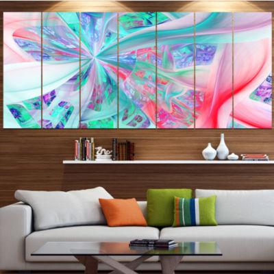 Multi Color Fractal Exotic Plant Stems Contemporary Canvas Art Print - 5 Panels