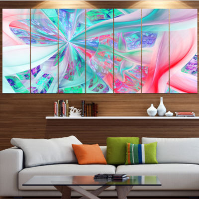 Multi Color Fractal Exotic Plant Stems Abstract Canvas Art Print - 5 Panels