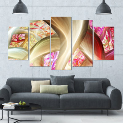 Golden Red Fractal Plant Stems Contemporary CanvasArt Print - 5 Panels