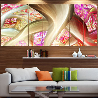 Golden Red Fractal Plant Stems Abstract Canvas ArtPrint - 5 Panels