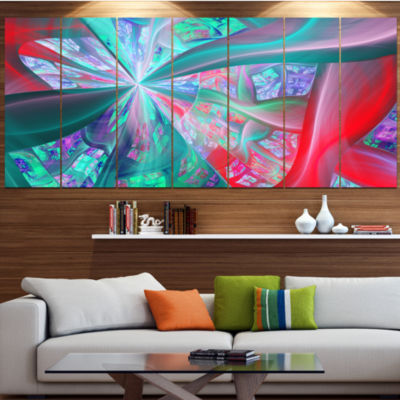Red Blue Fractal Exotic Plant Stems Abstract Canvas Art Print - 4 Panels
