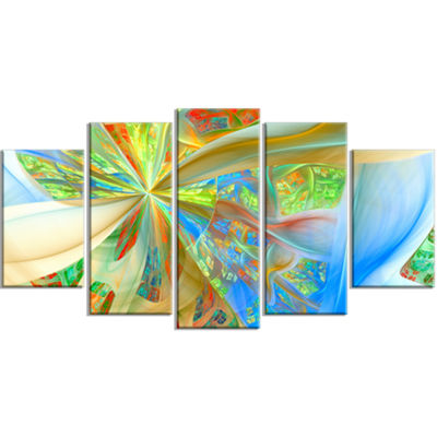 Yellow Fractal Exotic Plant Stems Contemporary Canvas Art Print - 5 Panels