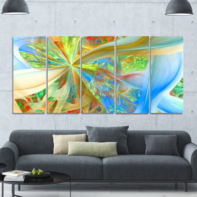 Yellow Fractal Exotic Plant Stems Abstract CanvasArt Print - 5 Panels