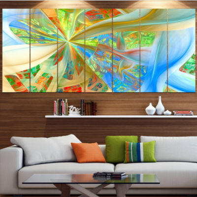 Yellow Fractal Exotic Plant Stems Abstract CanvasArt Print - 6 Panels
