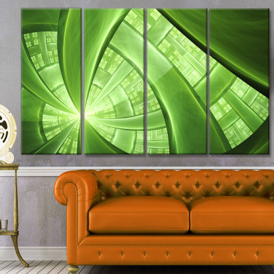Green Fractal Exotic Plant Stems Abstract Canvas Art Print - 4 Panels