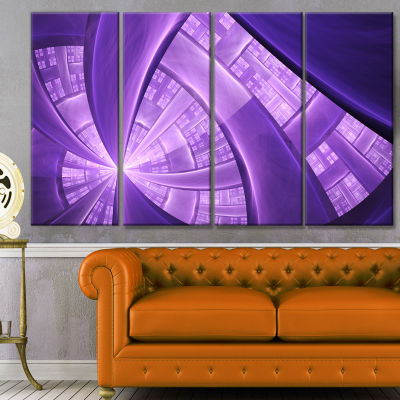 Purple Fractal Exotic Plant Stems Abstract CanvasArt Print - 4 Panels