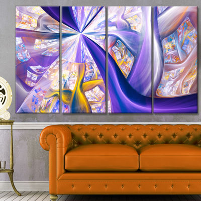 Purple Gold Fractal Plant Stems Abstract Canvas Art Print - 4 Panels