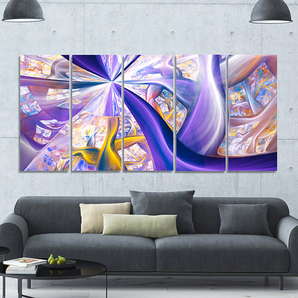 Purple Gold Fractal Plant Stems Abstract Canvas Art Print - 5 Panels