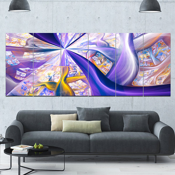 Purple Gold Fractal Plant Stems Abstract Canvas Art Print - 6 Panels