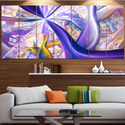 Purple Gold Fractal Plant Stems Abstract Canvas Art Print - 7 Panels