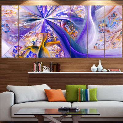Purple Yellow Fractal Curves Abstract Wall Art - 4Panels