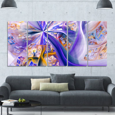 Purple Yellow Fractal Curves Abstract Wall Art - 5Panels